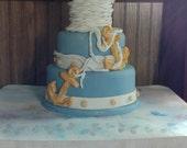 Fondant Faux 4-Tier Nautical Cake
