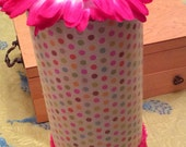 Hot Pink Daisy and Polka Dot Accessories/Headband Container