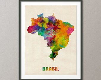 Brazil Watercolor Map (Brasil), Art Print (493)