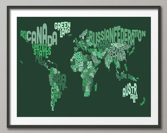 Typographic Text Map of the World Map, Art Print (603)