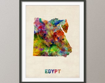 Egypt Watercolor Map, Art Print (537)