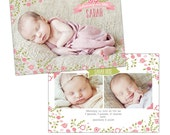 Birth announcement template -  Garden Baby  - E899