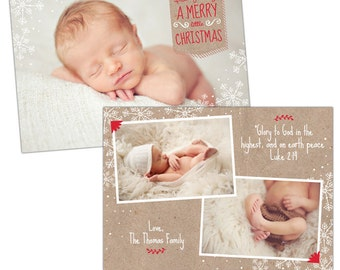 INSTANT DOWNLOAD - Christmas Holiday Card Photoshop template - e921