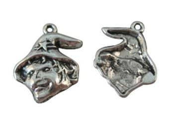 Witch Charm 4 Charms Antique Silver Tone 23 x 17 mm  ts256
