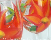 Red Orange Green Wild Flower Painted Wineglass - 1 Wine Glass