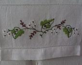 Vintage Small Linen Tea Towel Hand Embroidered Flower Spray