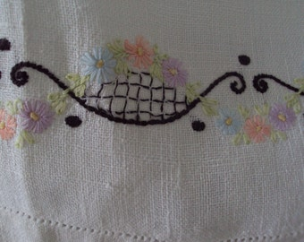 Vintage Linen Tea Towel Hand Embroidered Flower Garlands Baskets