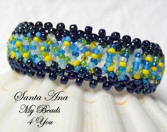 Beadwoven Bracelet, Beaded Bracelet, Seed Bead Bracelet, Beaded Cuff, Beadwork, Beaded Jewelry, Embellished Bracelet, Beadwoven Tutorial