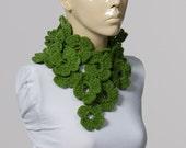 On Sale. GREEN Crochet  flowers scarf. Shamrock scarf. Valentine scarf. Holiday scarf.