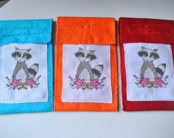 Cross-Stitch Raccoon Embroidered Felt Phone Cozy