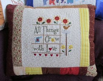 Embroidered Patchwork Pillow with All Things Grow With Love