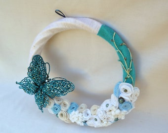 Blue butterfly winter wreath, felt wreath, yarn wreath, wall hanging, door wreath, holiday wreath, winter wreath, holiday door hanging