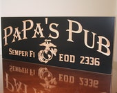 Military Retirement Gift, Veteran Gift Idea, USMC Military Sign, Wooden Man Cave Sign, Benchmark Custom Signs Maple MB