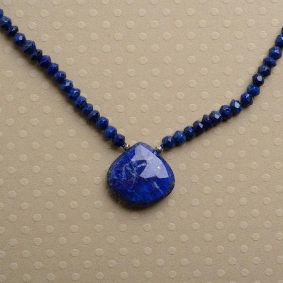 Items similar to Lapis Pendant Necklace, Blue Lapis ...