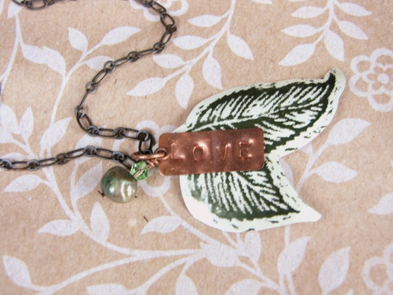 Stamped Copper Necklace Green Leaf Recycled Pop Can Eco Friendly Gift