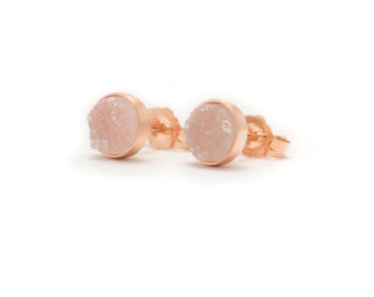 Pale Pink Druzy in Rose Gold Stud Earrings - 24k Rose Gold Vermeil - 6mm Round - Light Pink Drusy Quartz Studs