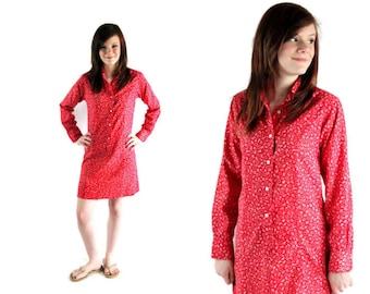 60s Dress / Mini / Mod / Shirt Dress / Red / Calico / Glenbrooke Jr