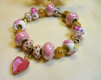 Pink Heart Bracelet, European Style Beaded Bracelet, Gold and Pink Bracelet, Holiday Gifts