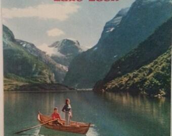 Original travel poster for Norway's Lake Loen via SAS airlines 1958