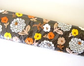 70s Unopened Contact Paper - Con-tact Brand - Orange, Yellow. White, and Beige Flowers on a Dark Brown Background