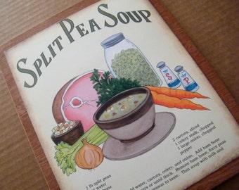 Wood Retro Vintage Primitive Split Pea Soup Recipe Sign Country Kitchen Wall Decor