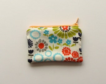 Small zippered cotton bag - coin purse - purse organizer-back pocket size -credit card holder-multicolored flowers/soft white, modern design