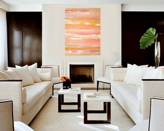 """Art and Collectibles Original Acrylic Abstract Painting Fine Art Canvas Titled:  JUST PEACHY 36x48x1.5"""" by Ora Birenbaum"""