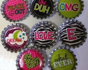 Set of 8 Super Cute Bottlecap Magnets