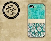 Iphone 4s case - Distressed aqua grunge damask - Iphone 4 cover, Iphone 5 case (9697)