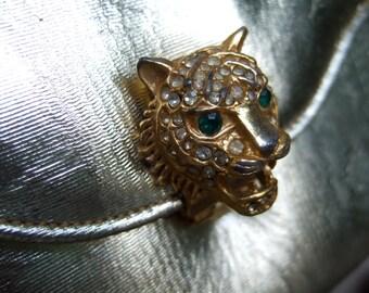 SAKS FIFTH AVENUE Elegant Jeweled Tiger Gold Evening Bag c 1970