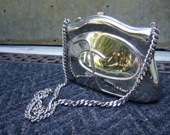 1970s Sleek Chrome Metal Evening Bag Made in Italy