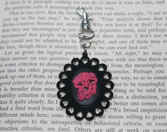 SALE Pink On Black Dia De Los Muertos Skull Heart Cameo Keychain