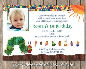 Hungry Caterpillar Personalised Birthday Invitation with Photo - YOU PRINT
