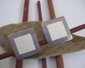 Vintage Ivory and Lavender Square Enamel Clip Earrings