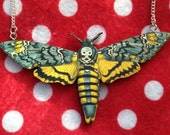 Vintage Style Cute Laser Cut Wood Deaths Head Moth Necklace