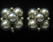 CLEARANCE Sterling Silver Mexican Vintage Screw Back Earrings have Five 8 mm Half Spheres Arranged Dimensionally with 4 Small ones.