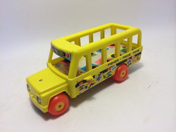 items similar to fisher price yellow school bus for little people toy vintage 1968 toy pull toy. Black Bedroom Furniture Sets. Home Design Ideas