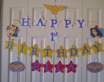 Wonder Woman personalized birthday banner