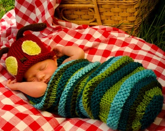 MADE TO ORDER -- Hand Knit Caterpillar Costume Baby Outfit - Great Shower Gift