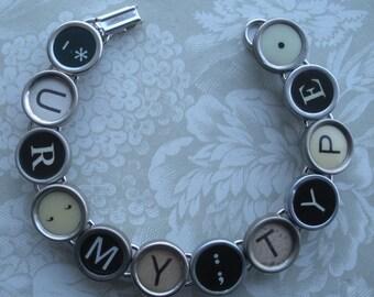 Vintage Typewriter Key Bracelet --URMYTYPE--