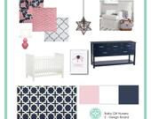 Interior Design Mood Board with floor plan, E-Design, E-Decorating, Custom Virtual Interior Design Mood boards,nursery, living room, dining