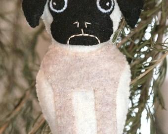 Super Cute Felt Pug Ornament