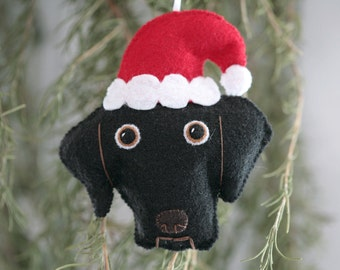 Cute Felt Black Lab Dog with Santa Hat Ornament