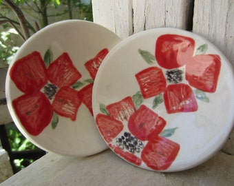 Set of Two Red Poppy Dishes