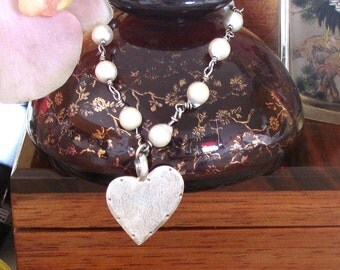 White Pearl Siver Wired Bracelet with Large Sterling Heart