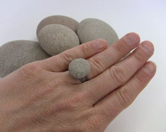 STONE Ring - Natural Beach Stone RING - Rock Ring - Rock Jewelry - Pebble Ring - West Coast jewelry