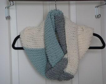 Oversize Chunky Knit Cowl Scarf Infinity Scarf  Knit Neckwarmer Wool --- Ready to Ship