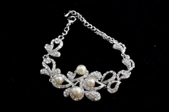Alba Swarovski crystal and pearl Bridal bracelet