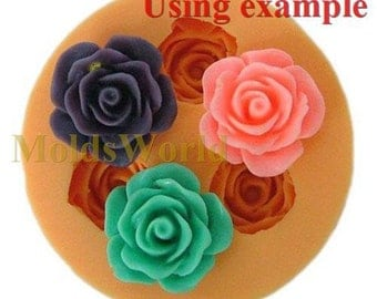 A048 Rose Flower Cabochon 3 Cavity Flexible Silicone Mold Mould for Crafts, Jewelry, Scrapbooking,  (resin, Utee, pmc, polymer clay)