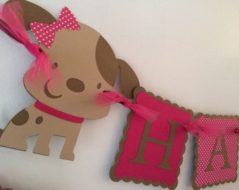 Puppy Birthday Banner/Hot Pink/Brown/Party Decor/Dog Party/ Girls Party Banner/Party Package/ Custom birthday banner/Name Banner